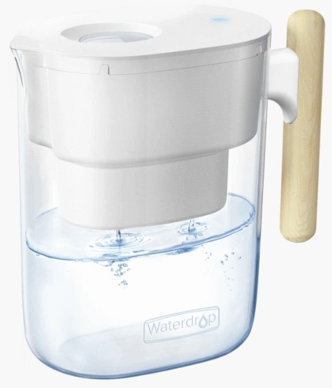 . Waterdrop Chubby NSF Certified 10-Cup with 1 Filter, Long-lasting (200 gallons), 5X Times Lifetime Filtration Jug, Reduces Lead, Fluoride, Chlorine and More, BPA Free, Clear