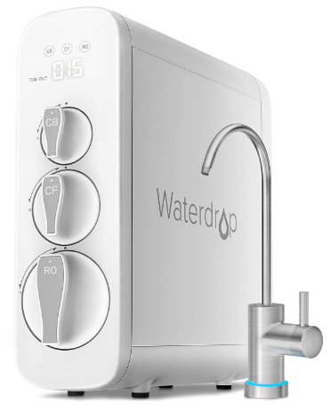 Waterdrop NSF Certified, TDS Reduction, 400 GPD Fast Flow, Tankless, Compact, Smart Faucet, 1:1 Drain Ratio, UL Listed Power, USA Tech, WD-G3-W