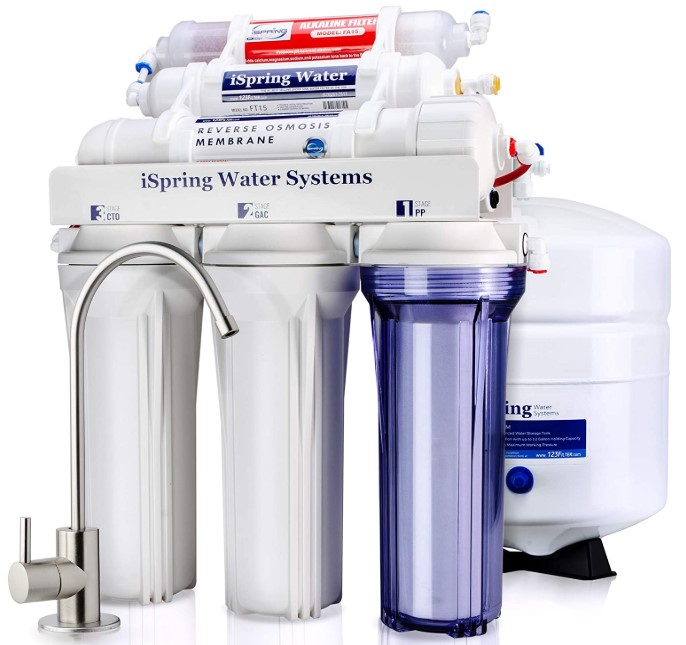 iSpring RCC7AK 6-Stage Superb Taste High Capacity Drinking Water Filter System with Alkaline Remineralization-Natural pH