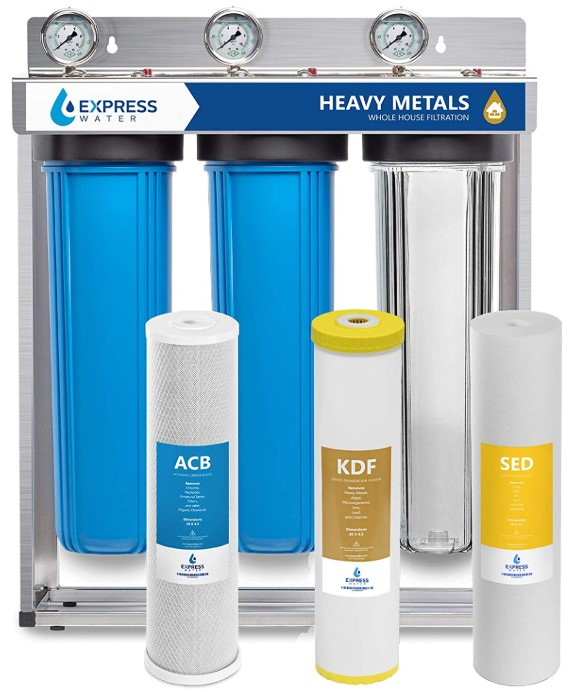"Express Water Heavy Metal – 3 Stage Home Water Filtration System – Sediment, KDF, Carbon Filters – includes Pressure Gauges, Easy Release, and 1"" Inch Connections"