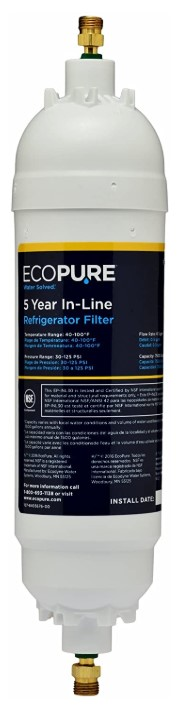 "EcoPure EPINL30 5 Year in-Line -Universal Includes Both 1/4"" Compression and Push to Connect Fittings"