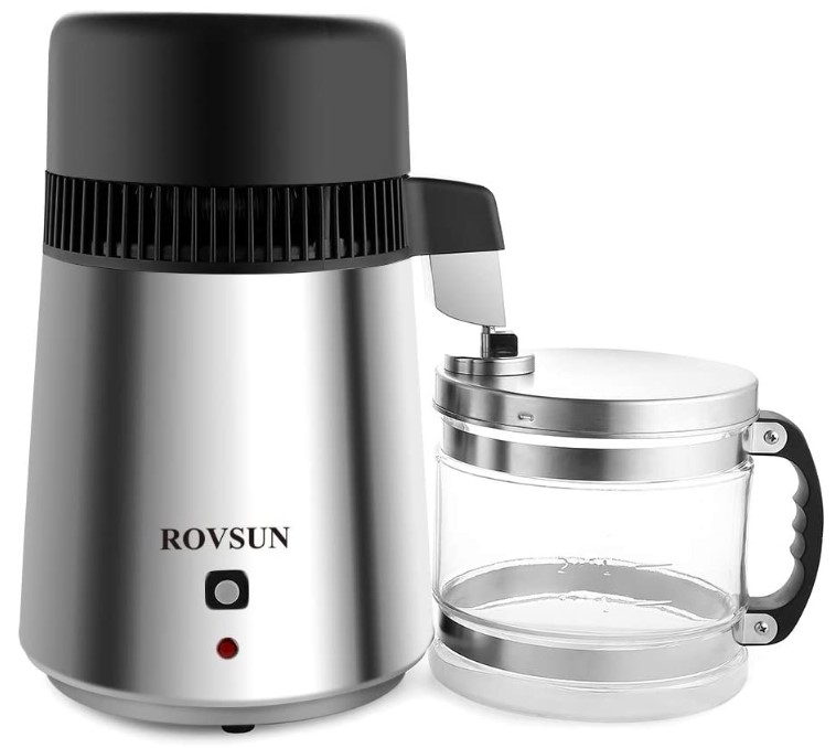 ROVSUN 4L Machine Stainless Steel Home Pure Water Purifier Filter, 750W Distilled Water Maker with Glass Container, 1L/H